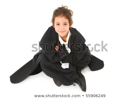 Pretty girl sits on old cross ties Stock photo © Aikon