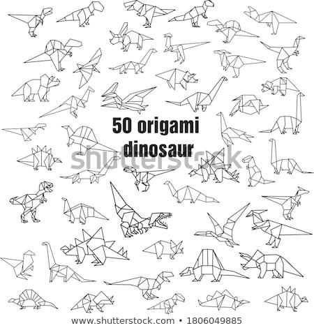 Origami dinozor bir kahverengi renkler vektör Stok fotoğraf © cienpies
