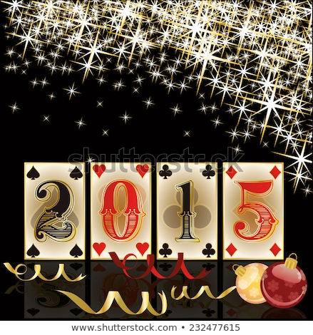 christmas poker happy new 2015 year cards vector illustration stock photo © carodi