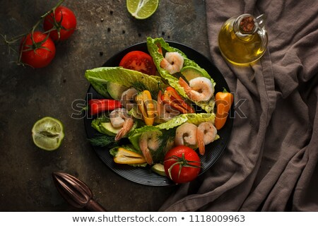 Stock photo: Shrimp Salad with Olives top view