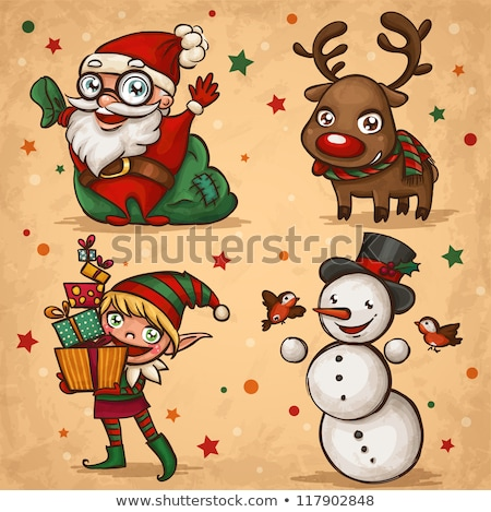Sketch snowman and raindeer in vintage style Stock photo © kali