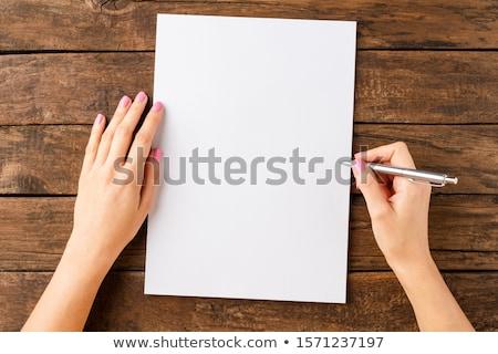 közelkép · üres · papír · irodaszerek · üzlet · technológia · fa · asztal - stock fotó © tangducminh