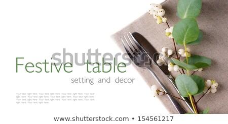 ünnepi · asztal · citromsárga · sablon · dekoráció · friss - stock fotó © manera