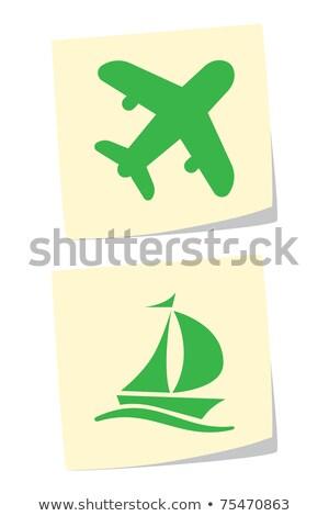 Airplane Sign Green Vector Icon Design Stock photo © rizwanali3d