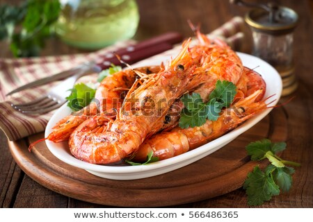 plaque · grillés · crevettes · déjeuner · bbq · repas - photo stock © godfer