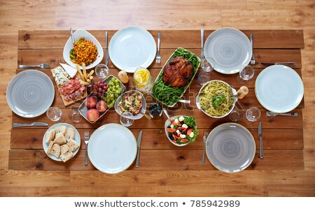 Homemade salad serving on wooden table Stock photo © nalinratphi