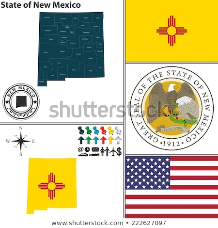 Stok fotoğraf: Map On Flag Button Of Usa New Mexico State