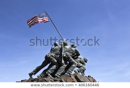 статуя солдаты американский флаг морской войны Сток-фото © rmbarricarte