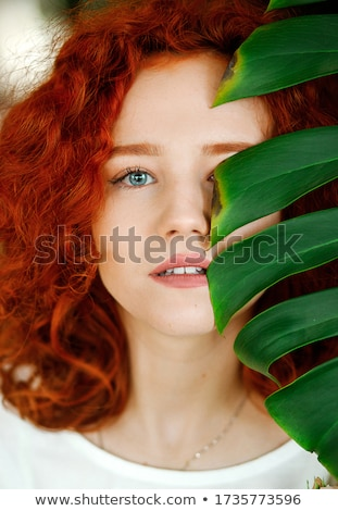 Creative портрет красивой женщину трава Сток-фото © dariazu