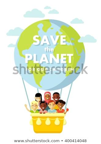 flat illustration different kids around the earth stock photo © vectorikart