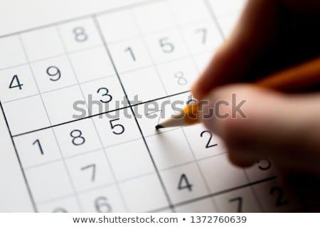Gedeeltelijk puzzel potlood verslavend japans math Stockfoto © madelaide