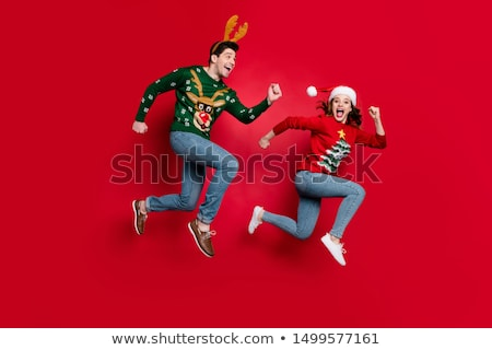 happy running christmas people stock photo © kurhan