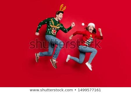 Foto stock: Feliz · corrida · natal · pessoas · branco · mulher