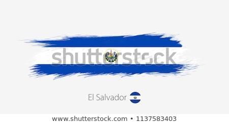 Bandeira El Salvador pintado escove sólido abstrato Foto stock © tang90246