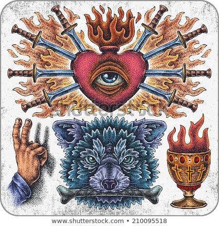 tattoo fire wolf vector illustration stock photo © carodi
