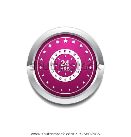 24 hizmet pembe vektör düğme ikon Stok fotoğraf © rizwanali3d