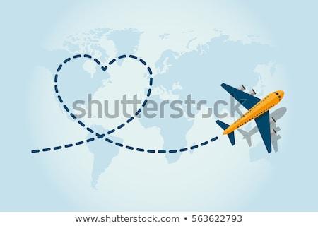 Airplane Sign blue Vector Icon Design Stock photo © rizwanali3d