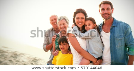 mother son wave sand Stock photo © Paha_L
