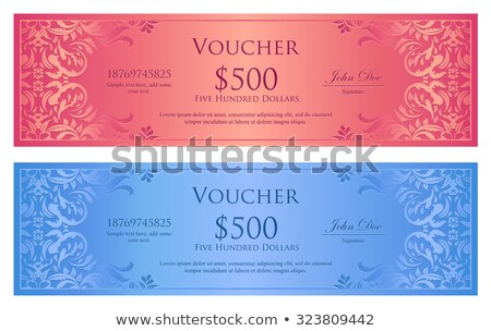 Luxury old pink and heaven blue gift certificate with floral ornament Stock photo © liliwhite