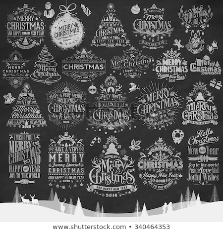 vintage christmas and new year typographical background on blackboard with chalk stock photo © rommeo79