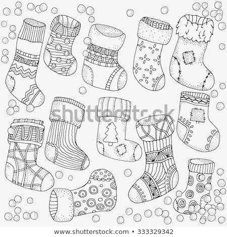 Artistiek gedetailleerd christmas sok abstract viering Stockfoto © pathakdesigner