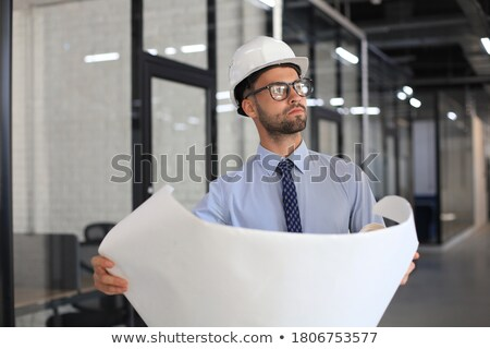 Aspiring young engineer in hardhat and necktie Stock photo © ozgur