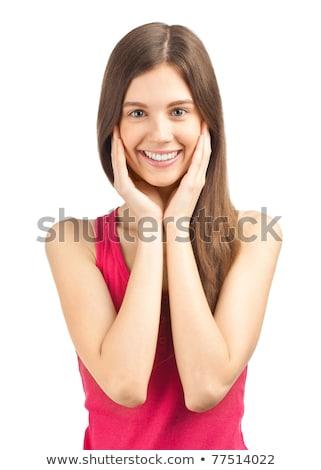 mulher · olhando · câmera · branco · feliz - foto stock © deandrobot