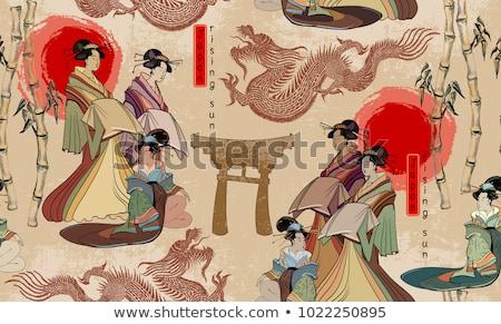 Japonês gueixa ilustração flores feminino guarda-chuva Foto stock © adrenalina