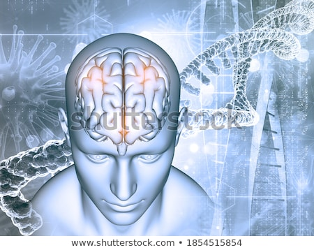 3D medical background with male face, DNA strands and virus cell Stock photo © kjpargeter