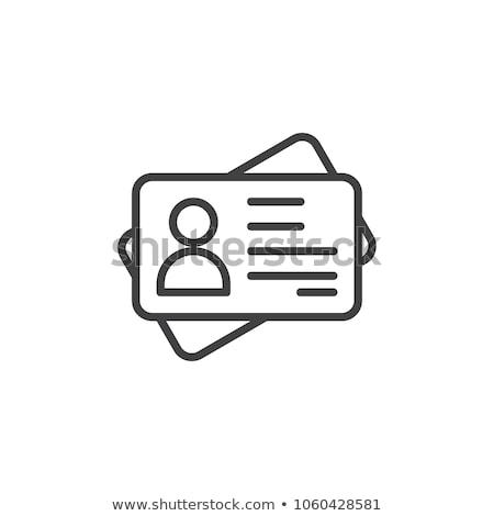 Stock fotó: Azonosítás · kártya · vonal · ikon · sarkok · háló