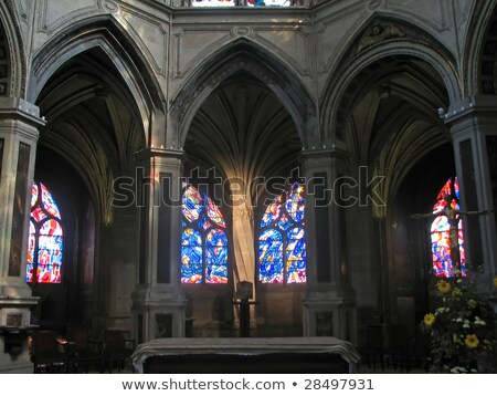 Altar Interior Stained Glass Saint Severin Church Paris France Stock photo © billperry