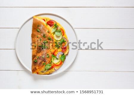 ストックフォト: 卵 · 新鮮な · レタス · サラダ · 菜 · 赤