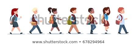 jonge · meisjes · jongens · lopen · witte · gezicht - stockfoto © bluering