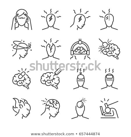 片頭痛 · アイコン · ベクトル · スタイル · シンボル · 青 - ストックフォト © orson
