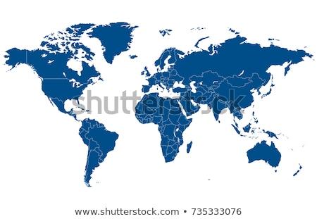 ストックフォト: 世界 · 青 · 3D · モデル · 地図 · 白