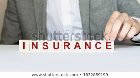 часы слово страхования деревянный стол служба время Сток-фото © fuzzbones0