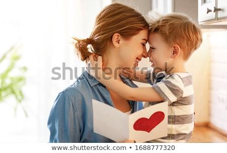 fiú · anyák · nap · születésnap · ajándék · mosoly - stock fotó © lovleah