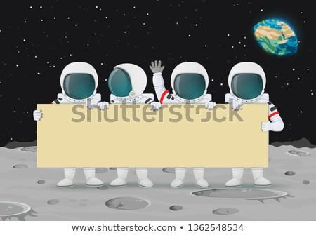Astronauta bandeira ilustração branco fundo menino Foto stock © bluering