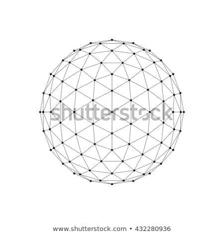 Черно-белые 3D сфере сеть линия Сток-фото © Said