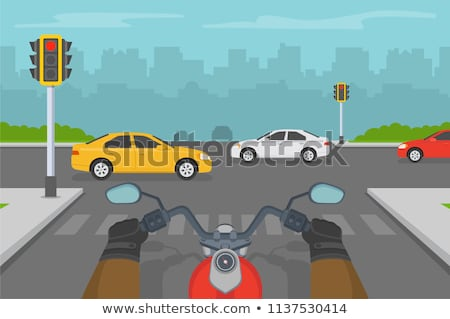 Piros motorbicikli műszerfal közelkép fém sebesség Stock fotó © ldambies