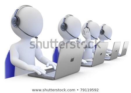 O homem 3d chamar trabalhando apoiar centro internet Foto stock © anadmist