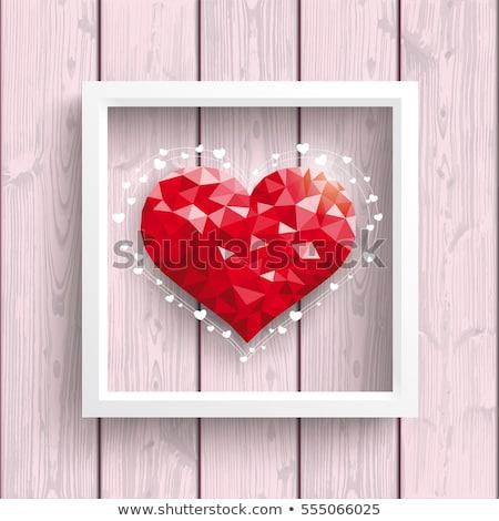 wooden heart shape frame eps 10 stock photo © beholdereye