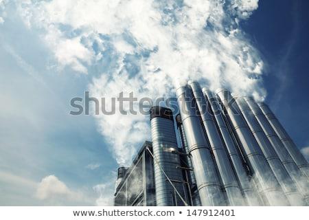 Duman mavi gökyüzü baca gökyüzü fabrika Stok fotoğraf © Klinker