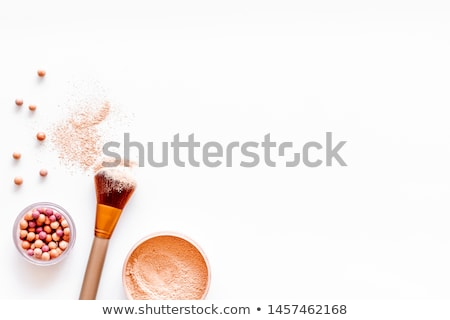 female with cosmetic brushes white background copyspace stock photo © nobilior