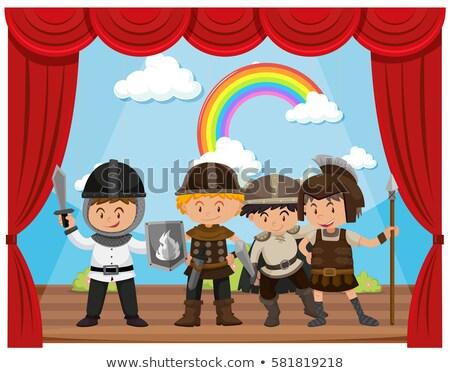 kinderen · fase · illustratie · kostuum · gordijn · achtergrond - stockfoto © bluering