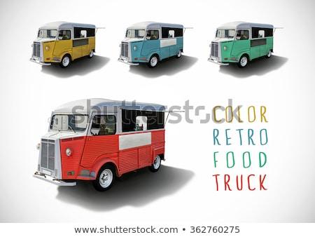 conjunto · cor · comida · caminhões · isolado · retro - foto stock © dawesign