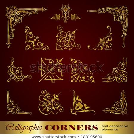 Altın dekoratif köşeler dizayn vektör Stok fotoğraf © blue-pen