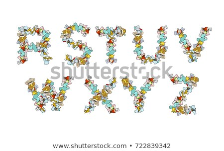 Rubbish font. Trash ABC. garbage alphabet. Letter litter. Part 3 Stock photo © MaryValery
