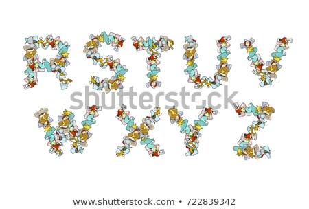 śmieci chrzcielnica kosza śmieci alfabet list Zdjęcia stock © MaryValery