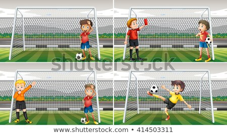 четыре футбола вратарь цель иллюстрация человека Сток-фото © bluering